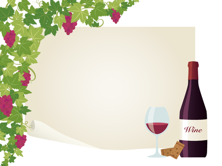 Wine and grape vector frame