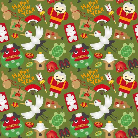 lucky bamboo: Japanese new year pattern Illustration