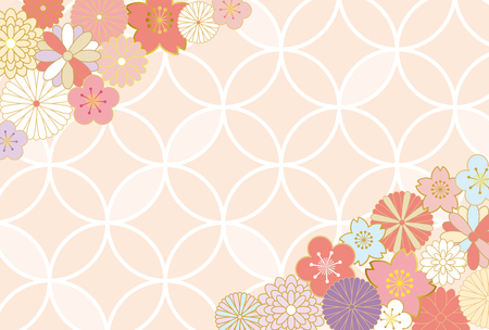 Japanese flower pattern background 向量圖像