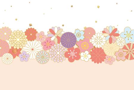 Japanese flower pattern background  イラスト・ベクター素材
