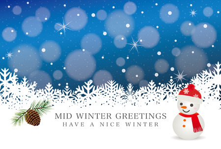 Mid-winter greeting card of snowman