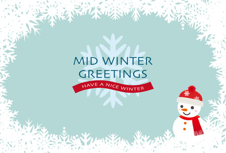 Mid-winter greeting card of snowflakes