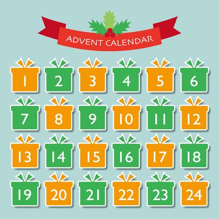 Kerst advent kalender vectorillustratie