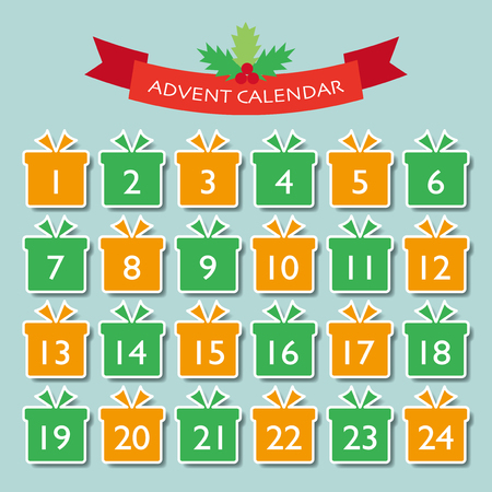 Christmas advent calendar vector illustration