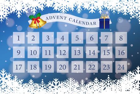 Christmas advent calendar vector illustration
