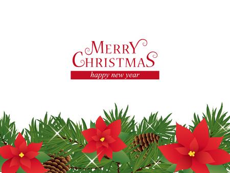 Christmas decoration frame of poinsettia flower Ilustração