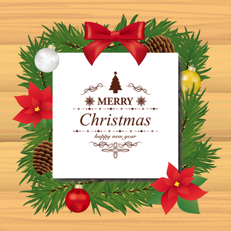 Christmas wreath with poinsettia flower on wooden board. Ilustração