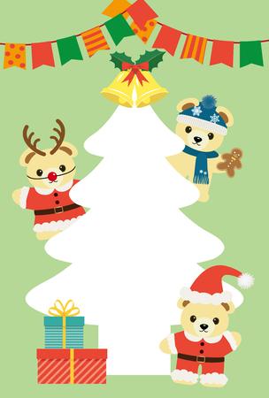 Merry Christmas bears cartoon