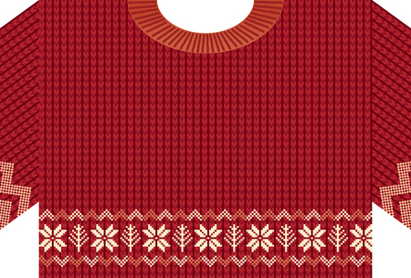 Greeting card of Nordic patterned knitted sweater