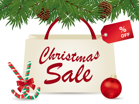 Christmas sale poster with shipping bag. Stock Illustratie