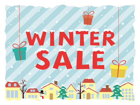 Winter sale poster with landscape