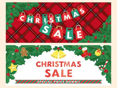 Christmas sale vector banner set