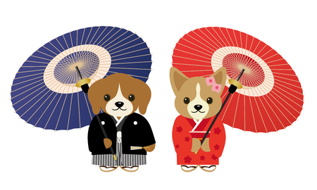 A couple of dogs wearing kimonos and Japanese umbrella.