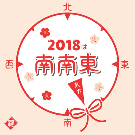 Japanese lucky direction in 2018 year Vector illustration.