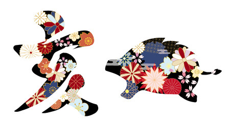 Japanese pattern boar character and silhouette.