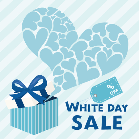 White day sale vector illustration with gift box.