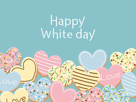 Happy White day vector frame with icing cookies.