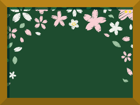 Cherry blossoms of handwriting style.vector frame.