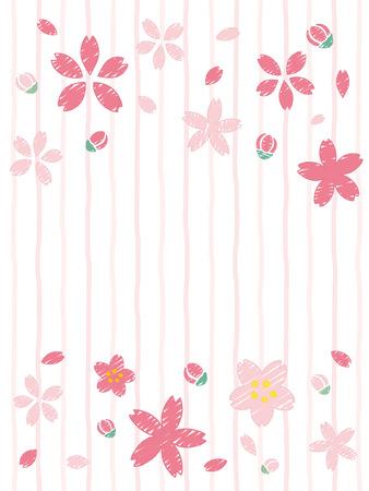 手書きスタイルの桜.ベクトル背景。  イラスト・ベクター素材
