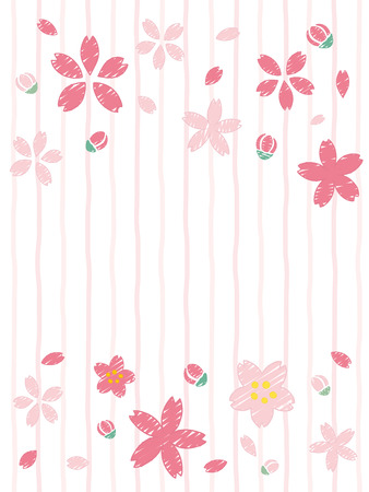 Cherry blossoms of handwriting style.vector background.