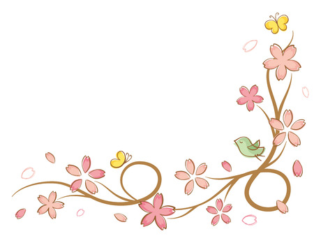 Cherry blossoms of handwriting style.vector seamless pattern background. Иллюстрация