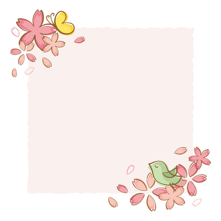 Cherry blossoms of handwriting style.vector seamless pattern background. Ilustrace