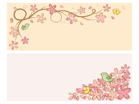 Cherry blossoms of handwriting style.vector banner set.