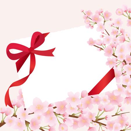 Greeting card with cherry blossom. Ilustração