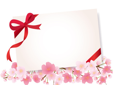 Greeting card with cherry blossom on plain presentation.