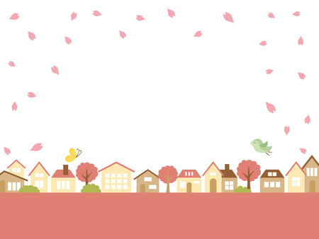 Spring town scape with cherry blossom vector background.