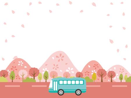 Spring bus tour vector background. Vector illustration.