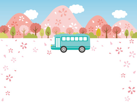 Spring bus tour vector background.