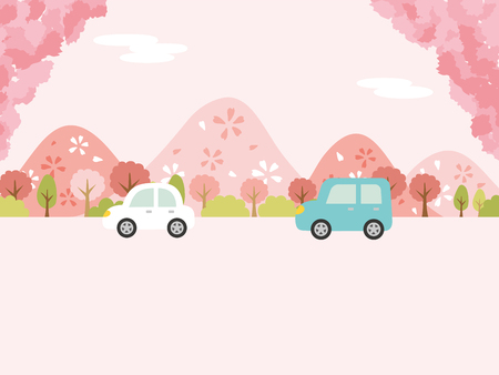 landscape driving the spring suburbs vector background.