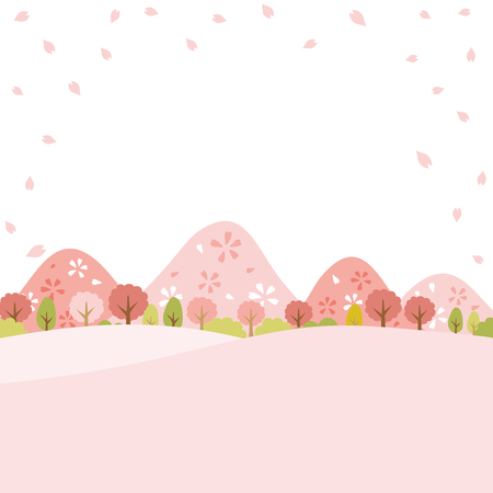 桜のベクター背景を持つ春の町のスケープ。  イラスト・ベクター素材