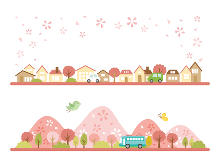 Spring town scape vector banner set.