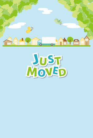 Greeting card for moving houses Vectores