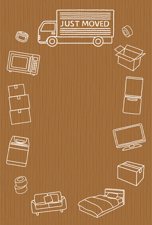 Greeting card of moving.