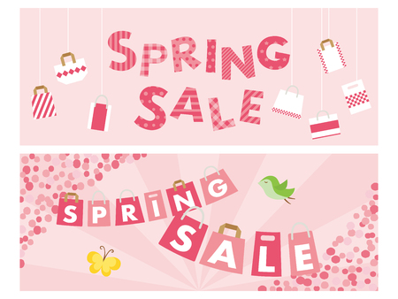 Spring sale banner set  isolated on colorful background.