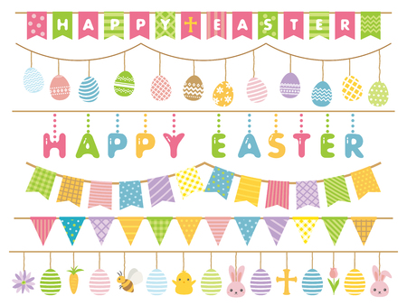 Happy easter vector colorful garland set  vector illustration