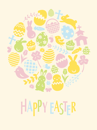 Happy easter flat icon frame vector card  with easter eggs and rabbits on pink background.