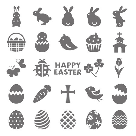 Happy easter vector icon set with eggs and bunnies.