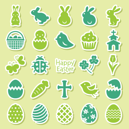 Happy easter vector icon set with eggs and bunnies. Stock fotó - 97206952