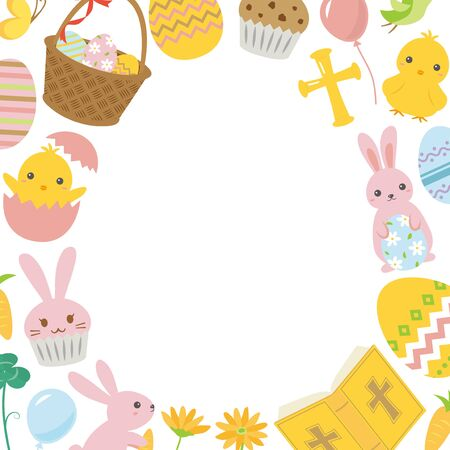 Happy easter cute cartoon vector frame.