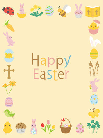 Happy easter cute icon vector frame. Vettoriali