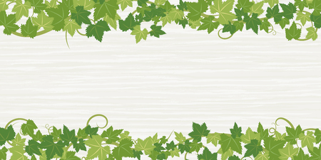 Fresh Ivy leaf vector frame on wooden texture background. Ilustrace