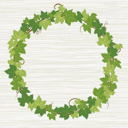 Fresh ivy leaf vector frame on wooden texture background.