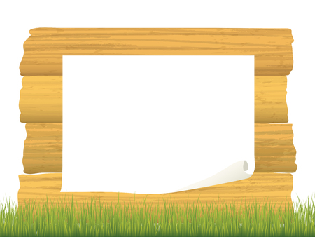 Green grass vector frame on wooden texture background.
