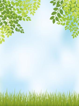 Fresh leaf vector frame with grass. Иллюстрация