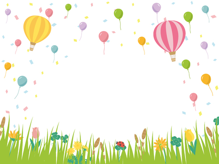 Landscape with the flower of the fresh green season with balloons in air.