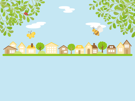 Landscape with spring insects for decoration backdrop Illustration